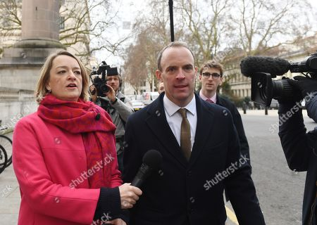 Stock Image of Former Brexit secretary Dominic Raab (R) speaks to BBC journalist Laura Kuenssberg (L) as he arrives at 'A Better Deal' event in London, Britain, 15 January 2019. Parliamentarians are voting on the postponed Brexit EU Withdrawal Agreement, commonly known as The Meaningful Vote, deciding on Britain's future relationship with the European Union.