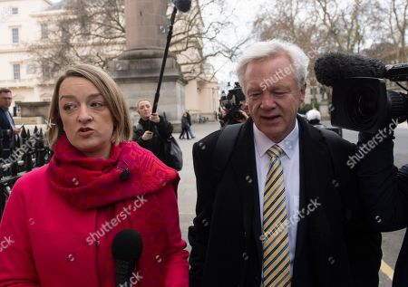 Former Secretary of State for Exiting the European Union David Davis (R) speaks to BBC journalist Laura Kuenssberg (L) as he arrives at 'A Better Deal' event in London, Britain, 15 January 2019. Parliamentarians are voting on the postponed Brexit EU Withdrawal Agreement, commonly known as The Meaningful Vote, deciding on Britain's future relationship with the European Union.