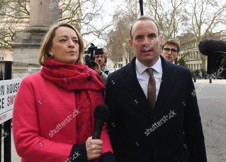 Stock Picture of Former Brexit secretary Dominic Raab (R) speaks to BBC journalist Laura Kuenssberg (L) as he arrives at 'A Better Deal' event in London, Britain, 15 January 2019. Parliamentarians are voting on the postponed Brexit EU Withdrawal Agreement, commonly known as The Meaningful Vote, deciding on Britain's future relationship with the European Union.