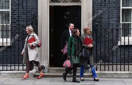 (L-R) Chief Secretary to the Treasury, Liz Truss, British Secretary of State for International Trade and President of the Board of Trade Liam Fox, British Leader of the House of Lords, Lord Privy Seal, Baroness Evans of Bowes Park, British Leader of the House of Commons and Lord President of the Council, Andrea Leadsom depart Downing Street following a cabinet meeting in London, Britain, 15 January 2019. Parliamentarians are voting on the postponed Brexit EU Withdrawal Agreement, commonly known as The Meaningful Vote, deciding on Britain's future relationship with the European Union.