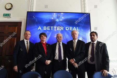 From (L-R) Former Secretary Dominic Raab, Democratic Unionist Party leader Arlene Foster, Former trade minister Peter Lilley and former Secretary of State for Exiting the European Union David Davis and Shanker Singham international trade policy expert pose for a photo at the 'A Better Deal' event in London, Britain, 15 January 2019. Parliamentarians are voting on the postponed Brexit EU Withdrawal Agreement, commonly known as The Meaningful Vote, deciding on Britain's future relationship with the European Union.