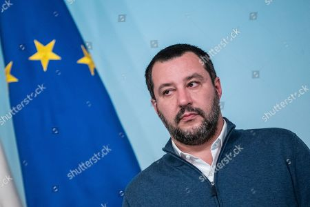 Italian Minister of Interior and Deputy Prime Minister Matteo Salvini during the press conference on the arrest of Italian former terrorist fugitive Cesare Battisti