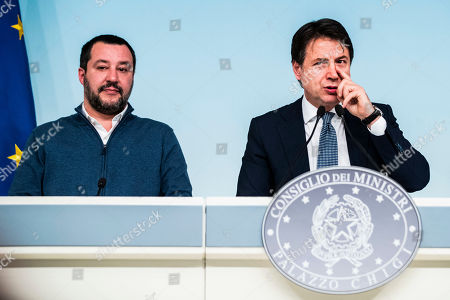 Italian Minister of Interior and Deputy Prime Minister Matteo Salvini, Italian Prime Minister Giuseppe Conte during the press conference on the arrest of Italian former terrorist fugitive Cesare Battisti