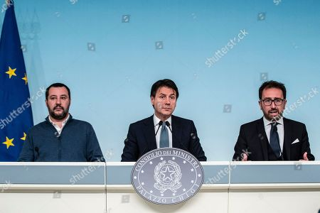 Italian Minister of Interior and Deputy Prime Minister Matteo Salvini, Italian Prime Minister Giuseppe Conte, Italian Minister of Justice Alfonso Bonafede during the press conference on the arrest of Italian former terrorist fugitive Cesare Battisti