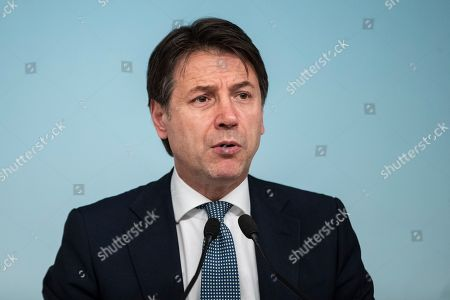 Stock Picture of Italian Prime Minister Giuseppe Conte during the press conference on the arrest of Italian former terrorist fugitive Cesare Battisti
