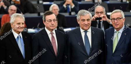 Former European Central Bank President Jean-Claude Trichet, European Central Bank President Mario Draghi, Antonio Tajani, President of the European Parliament, and Jean-Claude Juncker, President of the European Commission (L-R), stands together  at the European Parliament in Strasbourg, France, 15 January 2019, after the  commemoration of twenty years of the Euro.