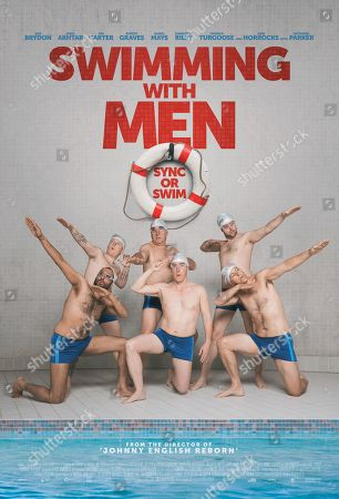 Swimming with Men (2018) Poster Art. Front Row, Adeel Akhtar as Kurt, Rob Brydon as Eric Scott, Rupert Graves as Luke, Back Row, Thomas Turgoose as Tom, Jim Carter as Ted and Daniel Mays as Colin