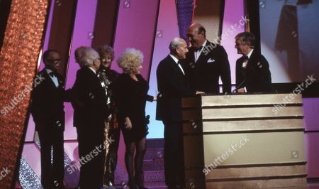 Stock Picture of Lifetime achievement award for film comedy awarded to Peter Rogers (Producer, the Carry On films producer), with Barbara Windsor, Liz Fraser, Kenneth Connor, Bernard Bresslaw and Sir Michael Parkinson.