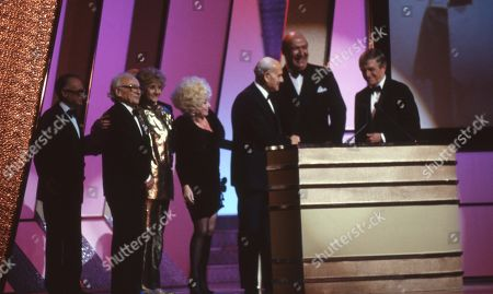 Stock Image of Lifetime achievement award for film comedy awarded to Peter Rogers (Producer, the Carry On films producer), with Barbara Windsor, Liz Fraser, Kenneth Connor, Bernard Bresslaw and Sir Michael Parkinson.