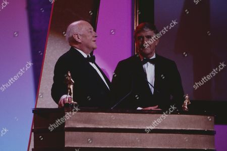 Alec Guinness awards the Lifetime achievement award to Ronnie Barker, with Sir Michael Parkinson.