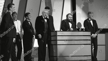 Spike Milligan awards Best new TV comedy award to Channel Four programme - Drop The Dead Donkey creators Andy Hamilton and Guy Jenkin, and cast members Robert Duncan, Jeff Rawle and Stephen Tompkinson. With Sir Michael Parkinson.