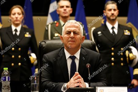 Newly appointed Greek Defence Minister Admiral Evangelos Apostolakis (C) addresses the media during a switchover ceremony at the National Defence Ministry, in Athens, Greece, 15 January 2019. Following the resignation of Panos Kammenos as defence minister, Prime Minister Alexis Tsipras on Sunday announced that the leadership of Greece's defence ministry will go to the current commander of the armed forces, Hellenic National Defence General Staff chief Admiral Evangelos Apostolakis.
