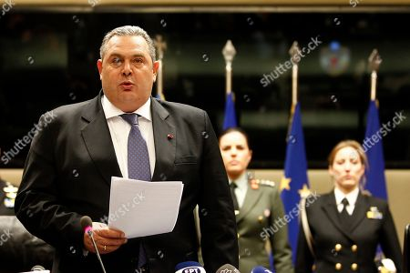 Former Greek Defense Minister Panos Kammenos addresses to the media during a switchover ceremony at the National Defence Ministry, in Athens, Greece, 15 January 2019. Following the resignation of Panos Kammenos as defence minister, Prime Minister Alexis Tsipras on Sunday announced that the leadership of Greece's defence ministry will go to the current commander of the armed forces, Hellenic National Defence General Staff chief Admiral Evangelos Apostolakis.