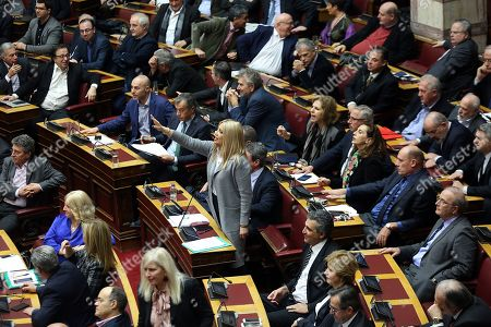 Fofi Gennimata (C), President of the Movement for Change (KINAL) party speaks  during the debate on the vote of confidence in the government, in the parliament?s plenum, in Athens, Greece 15 January 2019. The Conference of Presidents said the debate would end with a vote on 16 January 2019.