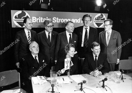 Stock Image of (Back row L to R) Norman Tebbit, Geoffrey Howe, Francis Pym, Michael Heseltine, Tom King (Front row L to R) Willie Whitelaw, Margaret Thatcher, Cecil Parkinson