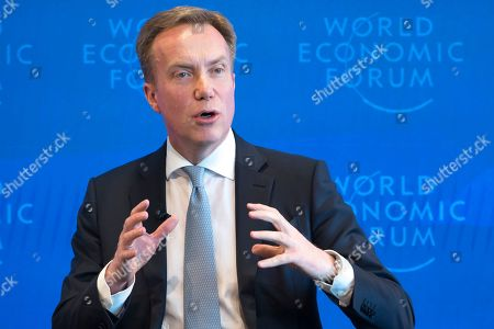 Norwegian Borge Brende President, Member of the Managing Board of the World Economic Forum, WEF, gestures during a press conference, in Cologny near Geneva, 15 January 2019. The World Economic Forum unveiled on the same day the programme for its Annual Meeting in Davos, Switzerland, including the key participants, themes and goals. The overarching theme of the Meeting, which will take place from 22 to 25 January, is 'Globalization 4.0'.