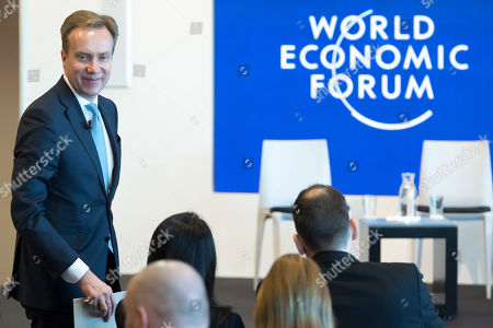 Norwegian Borge Brende President, Member of the Managing Board of the World Economic Forum, WEF, arrives for a press conference, in Cologny near Geneva, Switzerland, 15 January 2019. The World Economic Forum unveiled on the same day the programme for its Annual Meeting in Davos, Switzerland, including the key participants, themes and goals. The overarching theme of the Meeting, which will take place from 22 to 25 January, is 'Globalization 4.0'.