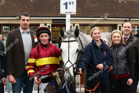 PARLOUR MAID ridden by Mr Shane Quinlan with the Rolling Aces after winning The Call Star Sports on 08000 521 321 Novices' Handicap Steeple Chase at Lingfield Copyright: Ian Headington/racingfotos.com