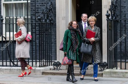 Liz Truss, Baroness Evans of Bowes Park, Andrea Leadsom and Liam Fox leave the Cabinet Meeting. Brexit Cabinet meeting ahead of the crucial Brexit withdrawal vote later today. Parliamentarians are voting on the postponed Brexit EU withdrawal agreement otherwise known as 'The Meaningful vote.'