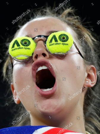 A fan of John Millman of Australia cheers during his men's singles second round match against Roberto Bautista Agut of Spain at the Australian Open Grand Slam tennis tournament in Melbourne, Australia, 16 January 2019.