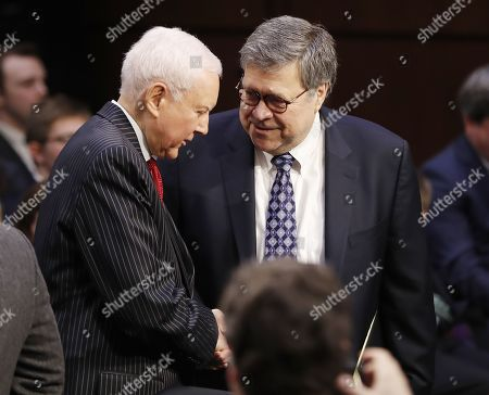 Former US Attorney General William Barr (R) is greeted by Republican Senator Orrin Hatch of Utah (L) as he arrives to the Senate Judiciary Committee for his confirmation hearing on Capitol Hill in Washington, DC, USA, 15 January 2019. Barr, who was nominated by President Trump to replace the embattled Jeff Sessions and who previously served as US Attorney General under President George H.W. Bush, has assured members in private that it is in the best interests of everyone to let the Mueller probe finish it's work.