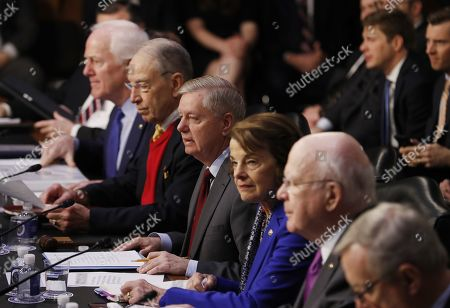 Members of the Senator Judiciary Committee (L-R) John Cornyn of Texas, Chuck Grassley of Iowa, Lindsey Graham of South Carolina, Dianne Feinstein of California and Patrick Leahy of Vermont as Former US Attorney General William Barr arrives to the Senate Judiciary Committee for his confirmation hearing on Capitol Hill in Washington, DC, USA, 15 January 2019. Barr, who was nominated by President Trump to replace the embattled Jeff Sessions and who previously served as US Attorney General under President George H.W. Bush, has assured members in private that it is in the best interests of everyone to let the Mueller probe finish it's work.