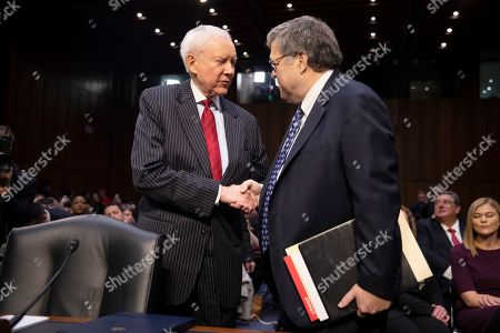 Former US Attorney General William Barr (R) is greeted by Republican Senator Orrin Hatch of Utah (L) as he arrives to the Senate Judiciary Committee for his confirmation hearing on Capitol Hill in Washington, DC, USA, 15 January 2019. Barr, who was nominated by President Trump to replace the embattled Jeff Sessions and who previously served as US Attorney General under President George H.W. Bush, has assured members in private that it is in the best interests of everyone to let the Mueller probe finish its work.