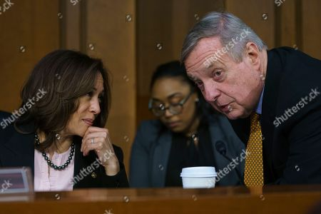 Lindsey Graham, Ben Sasse. Senate Judiciary Committee members Sen. Kamala Harris, D-Calif., left, and Sen. Dick Durbin, D-Ill., talk as Attorney General nominee William Barr testifies before the Senate Judiciary Committee on Capitol Hill in Washington