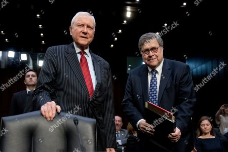 William Barr, Orrin Hatch. Former Sen. Orrin Hatch, R-Ariz., left, and Attorney General nominee William Barr, right, arrive to testify before a Senate Judiciary Committee hearing on Capitol Hill in Washington