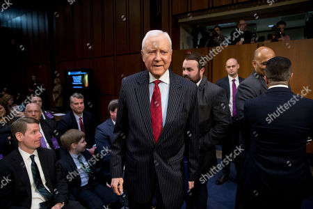 Former Sen. Orrin Hatch, R-Ariz., arrives before a Senate Judiciary Committee hearing on Capitol Hill in Washington, for Attorney General nominee William Barr. As he did almost 30 years ago, Barr is appearing before the Senate Judiciary Committee to make the case he's qualified to serve as attorney general