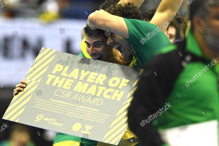 Felipe Borges of Brazil (L) celebrates with Jose Toledo of Brazil (R) after the match between Russia and Brazil at the IHF Men's Handball World Championship in Berlin, Germany, 15 January 2019.