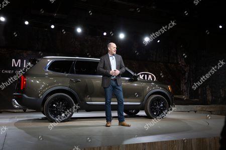 Michael Cole, COO, Kia Motors,  presents the 2020 Kia Telluride at the 2019 North American International Auto Show - NAIAS.