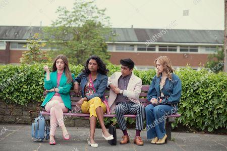 Mimi Keene as Ruby, Simone Ashley as Olivia, Chaneil Kular as Anwar and Aimee Lou Wood as Aimee Gibbs