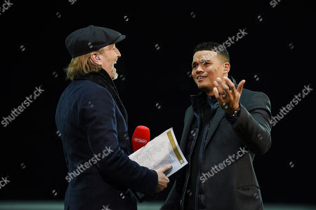 Robbie Savage and Jermaine Jenas get ready to commentate on BT Sport