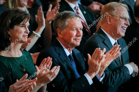 Former Ohio Gov. John Kasich applauds during a public inauguration ceremony for Gov. Mike DeWine at the Ohio Statehouse, in Columbus, Ohio. Kasich says he's joined CNN as a political commentator. The Ohio Republican is a frequent critic of President Donald Trump and a potential 2020 presidential contender. Kasich announced in a tweet on Tuesday, Jan. 15 he will begin immediately as a regular contributor on the cable news network