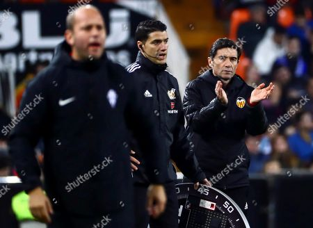 Valencia's head coach Marcelino Garcia Toral (R) and Sporting's head coach Jose Alberto Lopez Menendez (L) react during the Spanish King's Cup round of 16 second leg soccer match between Valencia and Sporting Gijon at Mestalla stadium in Valencia, Spain, 15 January 2019.
