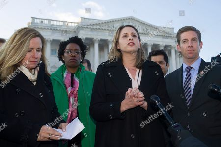 Debbie Mucarsel-Powell, Lauren Underwood, Katie Hill, Mike Levin. Rep. Debbie Mucarsel-Powell, D-Fla., left, Rep. Lauren Underwood, D-Ill., Rep. Katie Hill, D-Calif., Rep. Mike Levin, D-Calif., and other freshmen members of the House of Representatives speak about the government shutdown in front of the U.S. Senate on Capitol Hill, in Washington