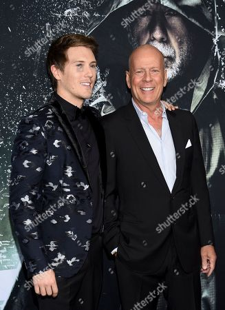 "Spencer Treat Clark, Bruce Willis. Actors Spencer Treat Clark, left, and Bruce Willis attend the premiere of ""Glass"" at the SVA Theatre, in New York"