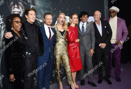 "Charlayne Woodard, Spencer Treat Clark, James McAvoy, Anya Taylor-Joy, Sarah Paulson, M. Night Shyamalan, Bruce Willis, Samuel L. Jackson. Charlayne Woodard, left, Spencer Treat Clark, James McAvoy, Anya Taylor-Joy, Sarah Paulson, M. Night Shyamalan, Bruce Willis and Samuel L. Jackson pose together at the premiere of ""Glass"" at the SVA Theatre, in New York"