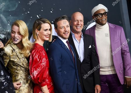 "Spencer Treat Clark, Anya Taylor-Joy, Sarah Paulson, James McAvoy, Bruce Willis, Samuel L. Jackson. Actors Anya Taylor-Joy, left, Sarah Paulson, James McAvoy, Bruce Willis and Samuel L. Jackson attend the premiere of ""Glass"" at the SVA Theatre, in New York"