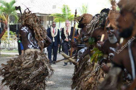 Australian Prime Minister Scott Morrison and Prime Minister of Vanuatu Charlot Salwai are greeted by traditional dancers during a visit to the National Archives and Library in Port Vila, Vanuatu, 16 January 2019. The prime minister will discuss Australian infrastructure investment, the Pacific labor hire scheme, and building cultural, economic and social ties between the two countries.