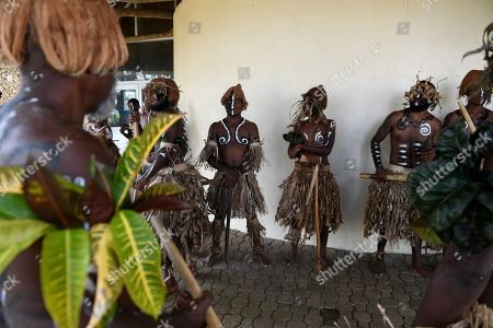 Traditional dancers await the arrival of Australian Prime Minister Scott Morrison and Prime Minister of Vanuatu Charlot Salwai, at the National Archives and Library in Port Vila, Vanuatu, 16 January 2019. The prime minister will discuss Australian infrastructure investment, the Pacific labor hire scheme, and building cultural, economic and social ties between the two countries.