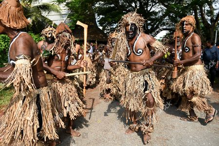 Traditional dancers perform to welcome Australian Prime Minister Scott Morrison and Prime Minister of Vanuatu Charlot Salwai, at the National Archives and Library in Port Vila, Vanuatu, 16 January 2019. The prime minister will discuss Australian infrastructure investment, the Pacific labor hire scheme, and building cultural, economic and social ties between the two countries.