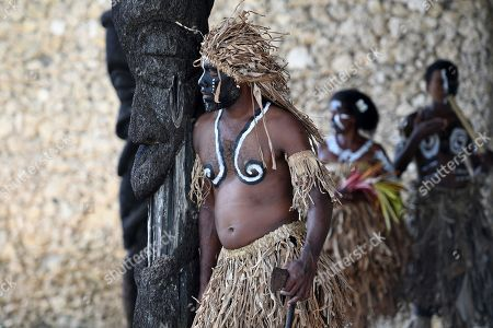 Traditional dancers await the arrival of Australian Prime Minister Scott Morrison and Prime Minister of Vanuatu Charlot Salwai, at the National Archives and Library in Port Vila, Vanuatu, 16 January 2019. Morrison will discuss Australian infrastructure investment, the Pacific labor hire scheme, and building cultural, economic and social ties between the two countries.