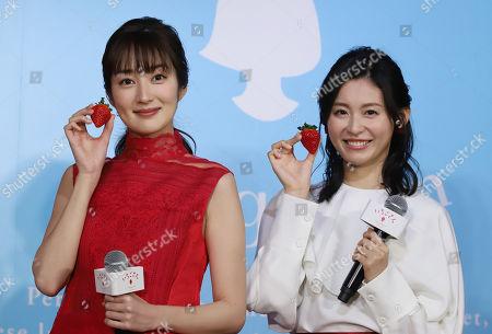 Stock Photo of Japanese actresses Rin Takanashi (L) and Yuika Motokariya