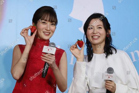 Japanese actresses Rin Takanashi (L) and Yuika Motokariya