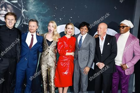 Spencer Treat Clark, James McAvoy, Anya Taylor-Joy, Sarah Paulson, M Night Shyamalan, Bruce Willis and Samuel L. Jackson