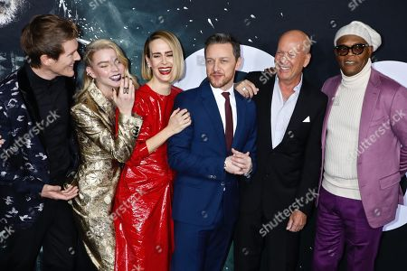 Stock Picture of Spencer Treat Clark, Anya Taylor-Joy, Sarah Paulson, James McAvoy, Bruce Willis and Samuel L. Jackson