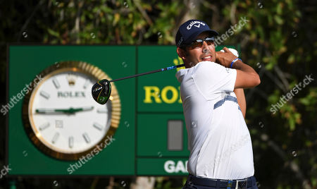 Pablo Larrazabal of Spain, tees off at the 10th hole in round one of the Abu Dhabi Championship golf tournament in Abu Dhabi, United Arab Emirates