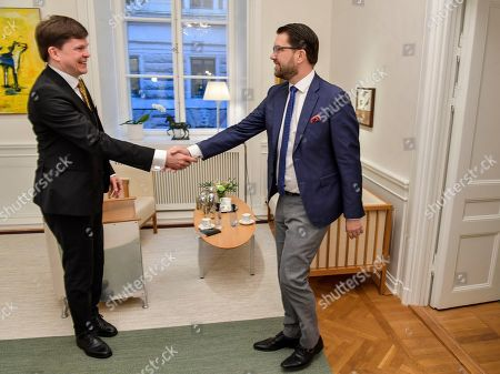 Stock Photo of Sweden Democrats leader Jimmie Akesson (R) meets with the Speaker of the parliament  Andreas Norlen, in Stockholm, Sweden, 16 January 2019. The Speaker of the Swedish Parliament Riksdagen will present on the day a proposal to the Riksdag for a candidate for Prime Minister.